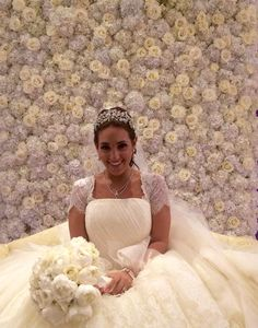 Stunning bride in front of gorgeous floral decor backdrop Amaryllis Event Decor Northvale, New Jersey