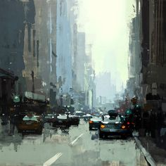 "5th Ave. Midday in Blue || Jeremy Mann, 2015 12 x 12"" Oil on Panel"