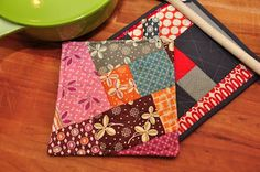 Quick and easy, quilt-as-you-go (QAYG), scrappy, crazy stitching potholder.