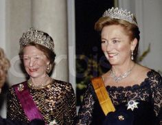 The late Grand Duchess Josephine Charlotte of Luxembourg nee Princess of Belgium with her sister in law Queen Paola of the Belgians each wear the grandest tiaras of their Royal house
