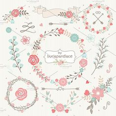 Wreath flower clipart by burlapandlace on @creativemarket