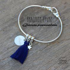 Bracelet EPURE bleu avec Gravure sur mesure