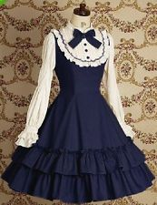 J503 NEW women long sleeves gothic lolita shirt dress bow school navy red retro