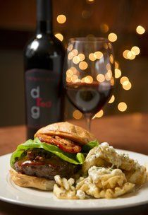 Hungry? Downriver Grill's Chipotle BBQ Burger and a Relentless Red. Photo by Colin Mulvany, The Spokesman-Review. #food #wine #spokane