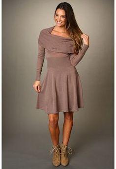 BCBGMAXAZRIA - Sheila Cowl Neck Sweater Dress (Brown Ash) - Apparel on shopstyle.com