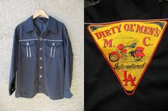 Vintage Dirty Ol' Men's MC Inter'l LA Polyester Motorcycle Club Button Down Sz L #GallantMan