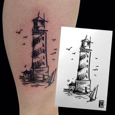 Lighthouse sketchtattoo #tattoo #lighthousetattoo #sketchtattoo…