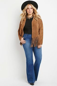 Plus Size Frayed Flare Jeans