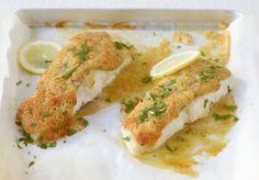 Genial: Würzige Käse-Butter-Brösel setzen Seelachs ratzfatz eine leckere Krone auf. Dazu passt Chicorée-Avocado-Salat.