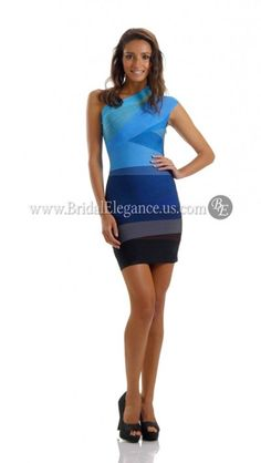 51ae9d667346 Blue Ombre Bandage Dress with One Shoulder and Multi-Colored Layers