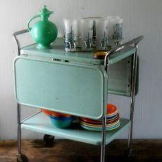 vintage metal rolling cart, folding sides