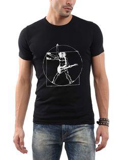 AmazonSmile: Guitar player funny Vitruvian man Tshirt Men Black WQ: Sports & Outdoors