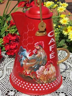 painted+chicken+coffee+pots | Vintage Coffee Pot Hand Painted HP Rooster / Chicken Red French ...