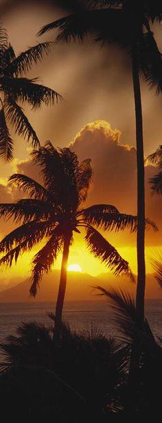 Sunset in Tahiti, French Polynesia