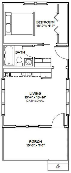 16x30 Tiny House -- #16X30H3A -- 480 sq ft - Excellent Floor Plans