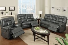 Modern Gray Leather Reclining Sofa Loveseat Power Motion Couch Living