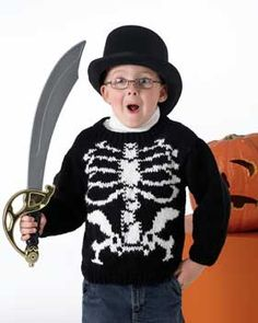 No bones about it, this scary skeleton sweater costume is an easy make Halloween pullover. #Knit your child his costume this year and he'll love wearing it out.