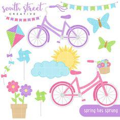 Spring Bike Kite Pinwheel Butterfly Flower by SouthStreetCreative