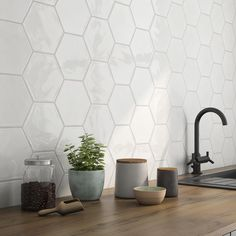 tiles Backsplash with Mayan hexagonal - Hexagon Tile Backsplash, White Kitchen Backsplash, Hexagon Tiles, Backsplash Ideas, White Hexagonal Tile, Tile Countertops, Kitchen Wall Tiles, Tiling, Kitchen Curtains
