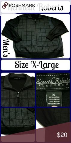 """NWOT Kenneth Roberts Platinum Sweater Sz XL NWOT Kenneth Roberts Platinum Sweater Size XL 60% Cotton, 20% Rayon, 20% Nylon This sweater is very soft and in new condition. It has long sleeves, a collared zipped neckline The main color is black and has a gray checkered pattern on the front. MEASUREMENTS: (taken flat) LENGTH: 30"""" BUST: 29"""" SLEEVE LENGTH: 34"""""""" From a clean, smoke-free home No rips, tears,or stains, or weird smells (T31) Kenneth Roberts Sweaters Zip Up"""