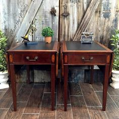 yes you can paint the leather vintage tables, home decor, painted furniture