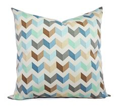 2+Chevron+Decorative+Pillows+in+Brown+Blue+by+CastawayCoveDecor