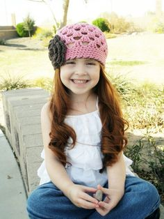 Pink and Brown Flower Beanie Baby Hat,
