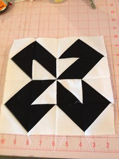 knit 'n lit: Modern Half-Square Triangle Quilt-a-Long Block 12