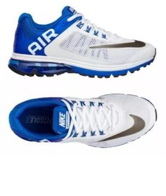 Nike Air Max Excellerate +2 Premium Running Shoes White/Blue 555331 101  #Nike #RunningShoesAthleticShoes