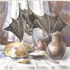 bodegón con murciélago  (acuarela sobre papel, 2015)