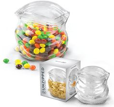 "Unzipped GLASS Bag. ""It's perpetually open and ready to add an unexpected element of surprise to everything from mints to cashews. Perch it next to your best china and the crudités and let people wonder. "" #cool"