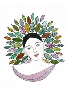 Original watercolor painting of woman with leaf crown entitled Leaf Princess Thi… - INK PAINTING Watercolor Journal, Watercolor Leaves, Watercolor And Ink, Ink Painting, Woman Painting, Watercolor Paintings, Zentangle, Leaf Crown, Bird Art