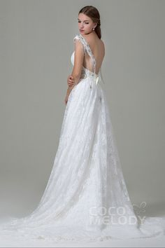 Classic Sheath-Column Straps Natural Train Lace Ivory Wedding Dress with Beading and Bowknot LWZT140B8