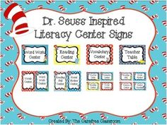 Here's a fun set of literacy center signs for your classroom. This set contains 3 different sized signs for you to choose from. The centers included are:teacher tableguided readinggame centerreading centercomputer centerword work centerwriting centerreader response centergrammar centerinformational centervocabulary centerreading skill centercross curricular centersocial studies centerscience center If you like this set check out my other Dr.