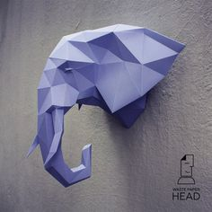 Papercraft elephant head 2 printable DIY door WastePaperHead
