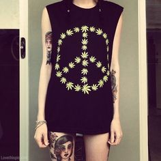 hipster, weed clothing, a tattoo, peace shirt
