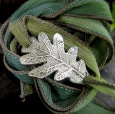 Oak Leaf Bracelet - Wrap Bracelet - Real Leaf Jewelry - Silk Ribbon Wrap - Silvan Leaf - Artisan Handcrafted Recycled Silver - Silvan Arts by SilvanArts on Etsy https://www.etsy.com/listing/158391010/oak-leaf-bracelet-wrap-bracelet-real