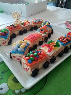 This will be great for M s birthday if I can learn how to make swiss rolls and how to make a train engine - will make a rainbow engine with m s or pebbles Cupcakes, Cupcake Cakes, 3rd Birthday Cakes, Celebration Cakes, Creative Food, Cake Decorating, Sweet Treats, Swiss Rolls, Cake Rainbow