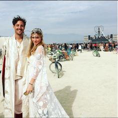 Looks like this couple got married at Burning Man! What a cool idea!