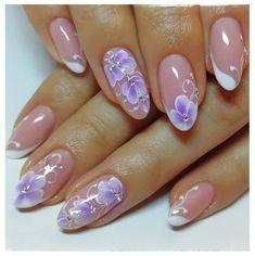 Purple Nail Designs, Colorful Nail Designs, Nail Art Designs, Violet Pastel, Pink Ombre Nails, Soft Nails, Vacation Nails, Pin On, Flower Nail Art