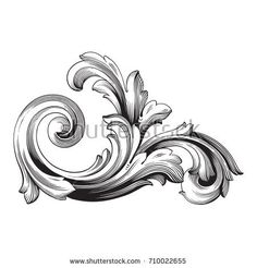 Baroque vector of vintage element for design. You can use for wedding decoration of greeting card and laser cutting. Tribal Sleeve Tattoos, Tattoo Sleeve Designs, Filigrana Tattoo, Osiris Tattoo, Custom Motorcycle Paint Jobs, Swirl Tattoo, Gothic Pattern, Ornament Drawing, Filigree Design