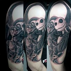 2a89a600480 Jack Skellington With Sally Night Before Christmas Mens Half Sleeve Tattoo  Jack Skellington, Skull,