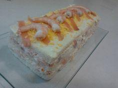 Pastel de salmon y gambas.