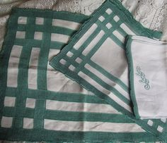 Antique Set Of 25 Linen With Green Woven Edge by AuntSuesVintage, $32.99