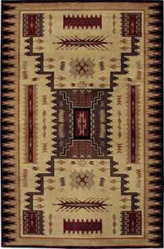 Traditional Southwest influence area rug. Great for family rooms, lodges, cabins, Santa Fe style interiors.