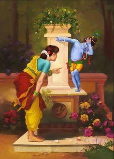 Mother Yashoda with divine son Krishna Baby Krishna, Krishna Lila, Cute Krishna, Radha Krishna Love, Krishna Statue, Lord Krishna Images, Radha Krishna Images, Krishna Pictures, Krishna Photos