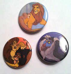 "3 Disney's Lion King Pin-Back Buttons/Badges - 1 1/4"" - Free Shipping"