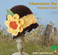 Free crochet pattern Harvest Gold - fun hat for fall. #crochet #patternparadise #freepatterns