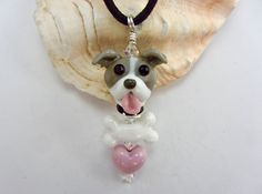 Pit Bull Lover Necklace #2 - Lampwork SRA by SUZOOM on Etsy