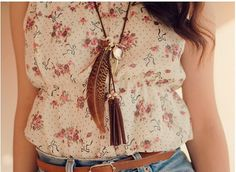 Denim, skinny belts, and feathers! <3
